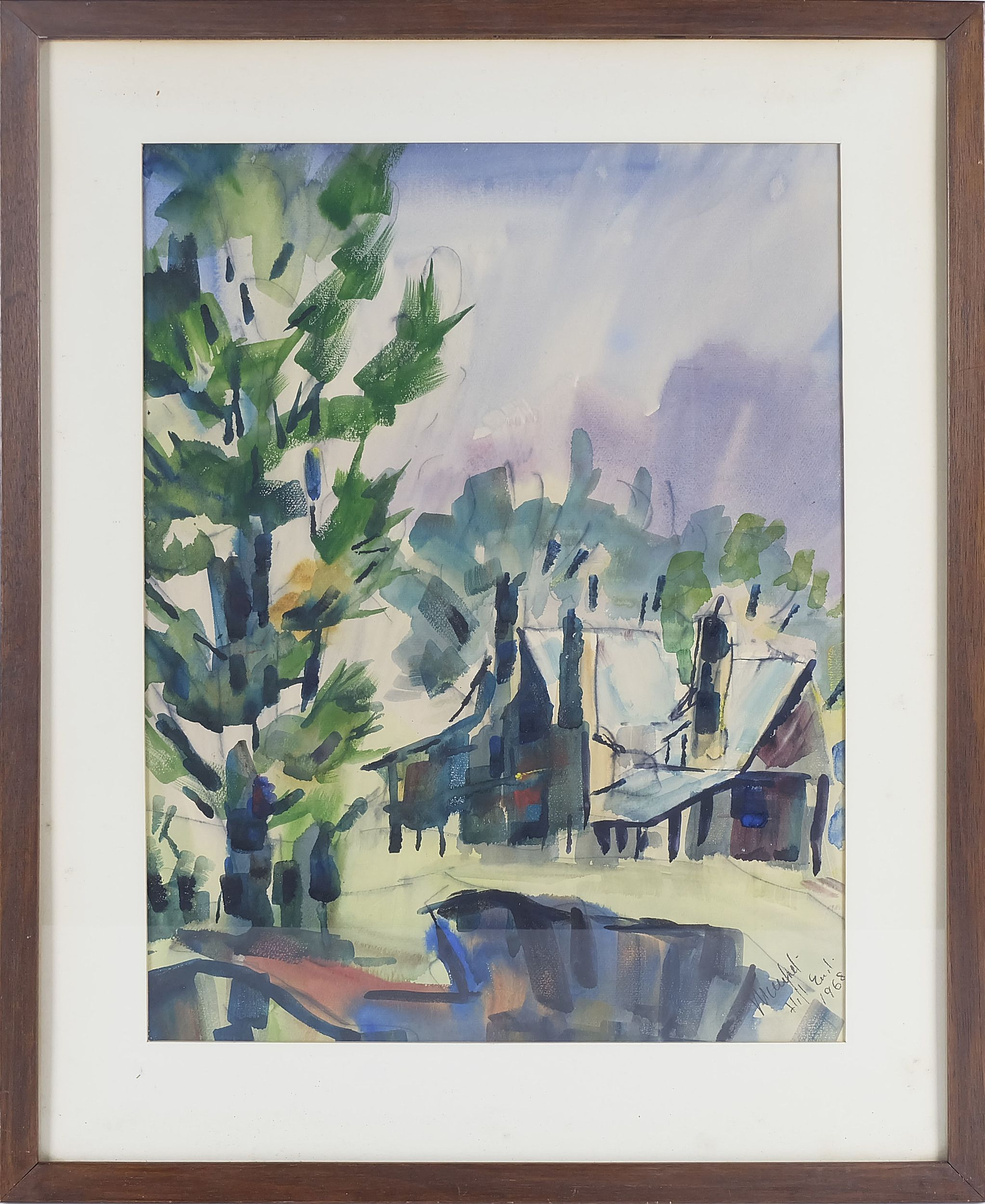 'Manfred Lindenburger (1914-) Hill End Watercolour'