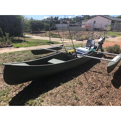 Australis Swagman Outrigger Fishing Canoe and Motor