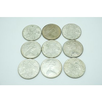 Nine 1966 Coat of Arms Round 50c Coins