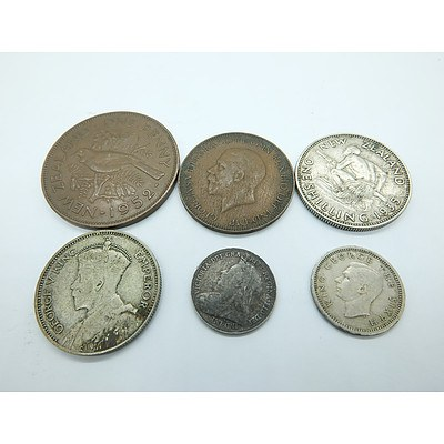 Six Collectable New Zealand and United Kingdom Coins Including a 1934 One Shilling Coin