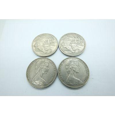Four 1966 Australian Platypus 20c Coins