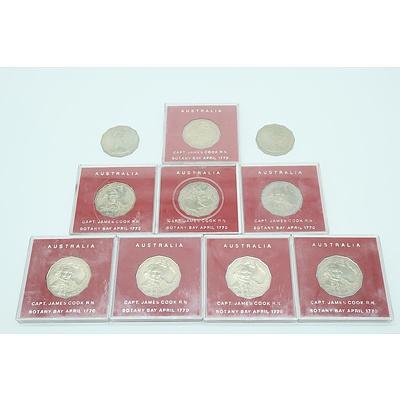 Ten 1970 Captain James Cook 50c Coins