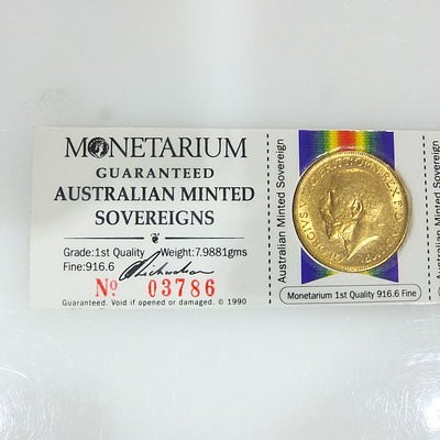 Five Encased Australian Minted Gold Sovereigns No. 03786