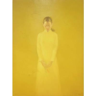 Bui Van Hoan (Vietnam 1971-) School Girl Oil on Canvas