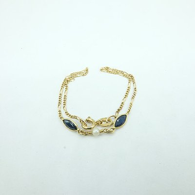 9ct Yellow Gold Bracelet with at Center Two Marquette Dark Blue Sapphire and One Round Cultured Pearl