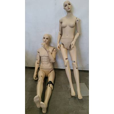 Male and Female Full Body Mannequins - Lot of Two