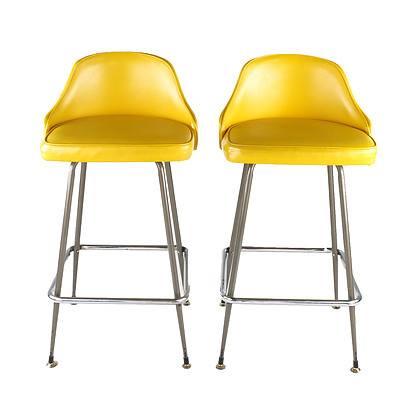 Pair of Retro Namco Yellow Vinyl Barstools
