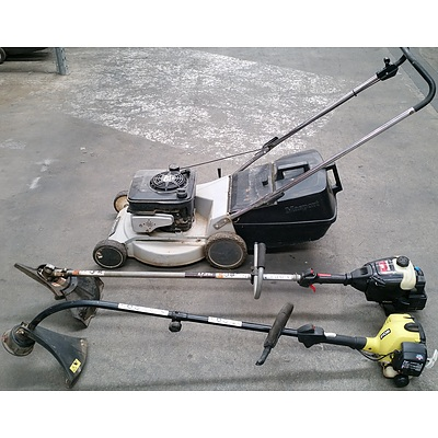 Masport Four Stroke Lawn Mower, Ryobi Line Trimmer and Yard Machines Line Trimmer