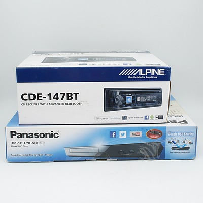 Panasonic DMP-BD79Gn Blu-Ray Disc Player, Alpine CD Receiver with Bluetooth CDE-147BT, AV Labs Speakers and Alarms, and Onix Docking Station