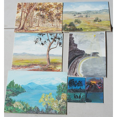 Group of Oil on Canvas Boards and One Watercolour