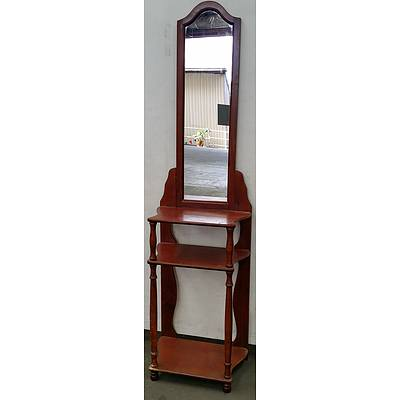 Stained Pine Hall Stand With Mirror