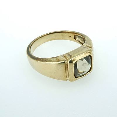 9ct Yellow Gold Gents Ring With Green Citrine