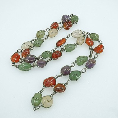 Tumbled Agate Beads Wrapped in Silver Wire