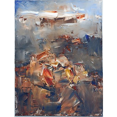 Chen Ping (China, Australia 1962-) Red Mountain Mount Wellington, Oil on Canvas
