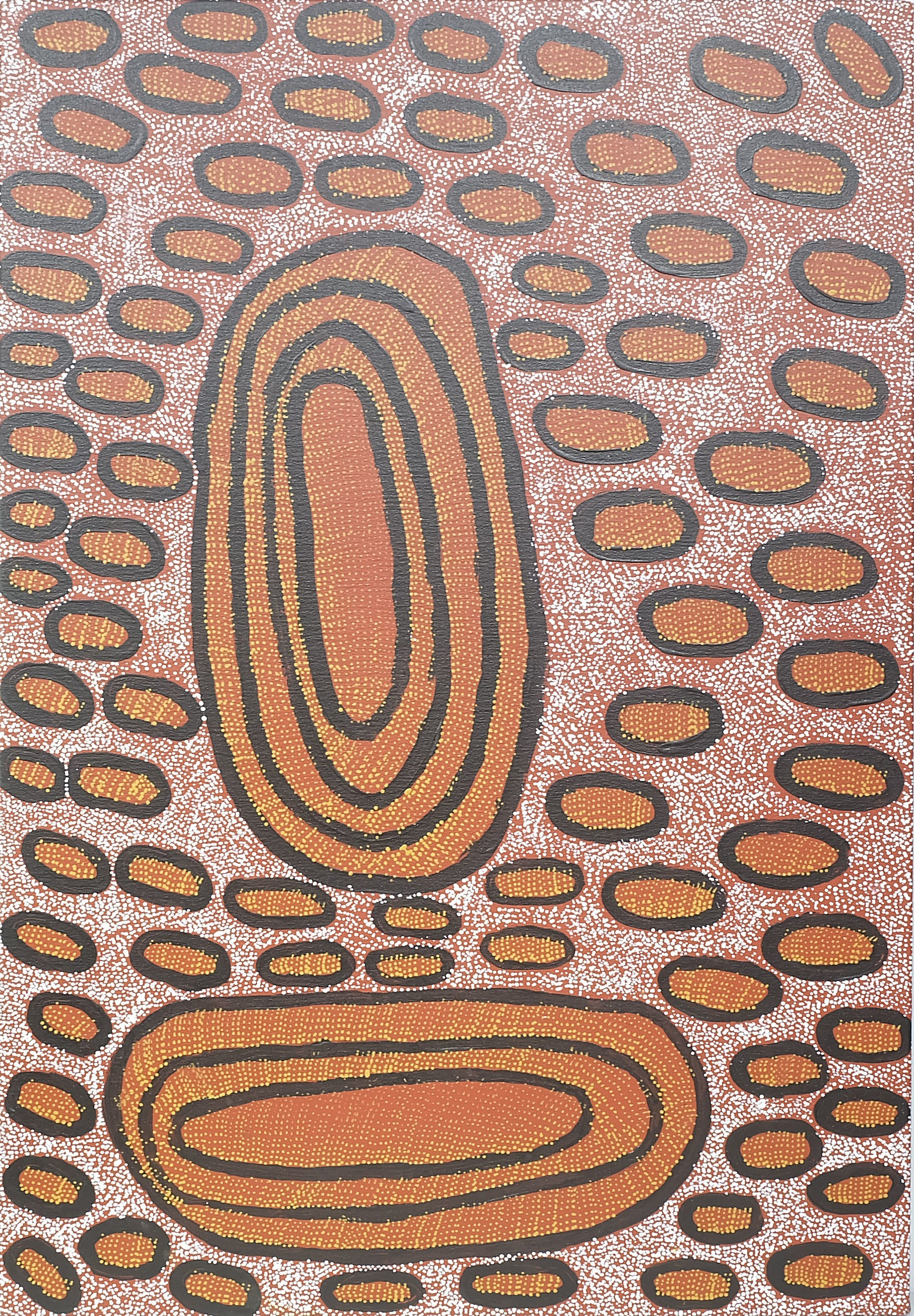'Ngoia Pollard Napaltjarri (1948-) Swamps Near Nyrripi Oil on Canvas'