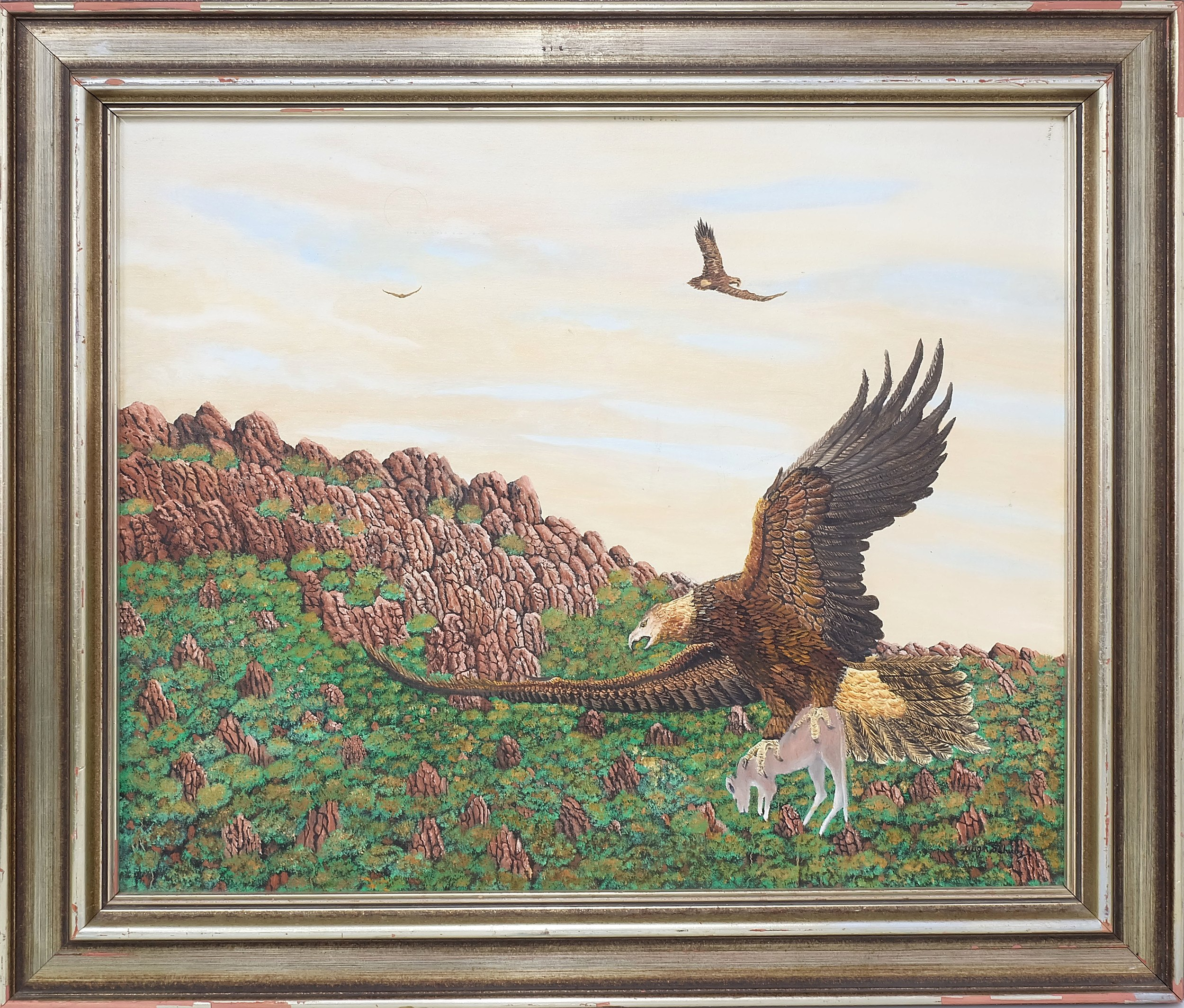 'Hugh Schulz (1921-2005) Wedge Tailed Eagle Oil on Canvas'