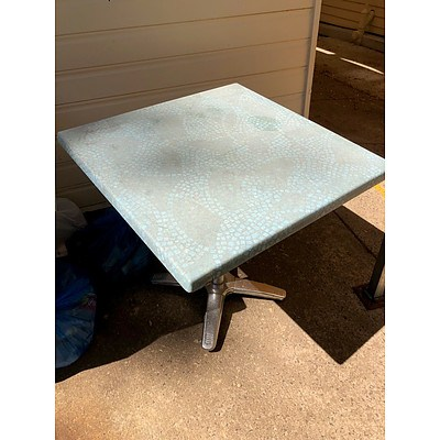 Blue/Grey Pattern Small Cafe Tables - Lot of 4