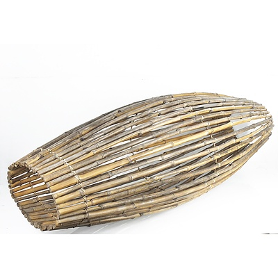 Large Vintage Tribal Bamboo Fish Trap