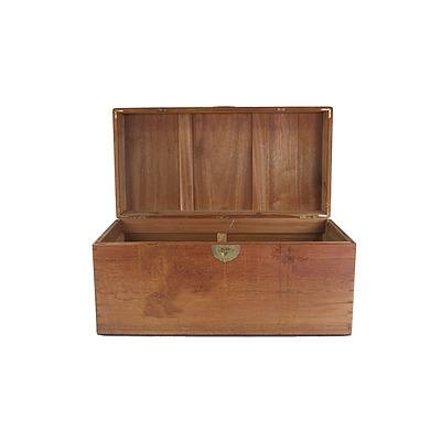 Asian Camphorwood Chest with Carved Relief Cherry Blossom