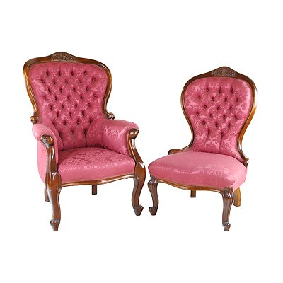 Victorian Style Mahogany Grandfather and Grandmother Chairs with Matching Buttoned Upholstery Mid to Late 20th Century