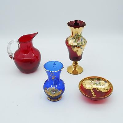 Group of Venetian Style Art Glasses Including a Raised Enameled Glass Vase
