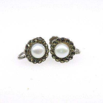 Sterling Silver Screw on Earrings with Marquite and Fresh Water Pearls
