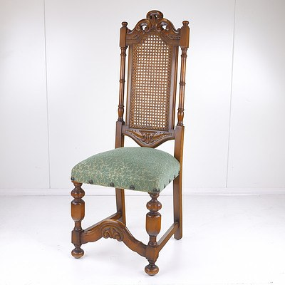 Jacobean Style Carved and Caned Chair