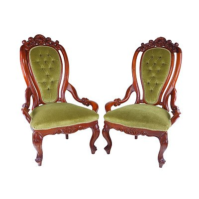 Pair of Antique Style Mahogany Salon Chairs with Buttoned Green Velvet Upholstery Mid to Late 20th Century