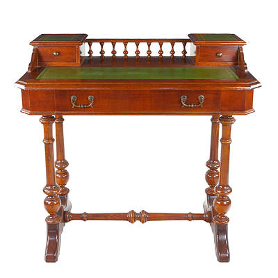 Victorian Style Writing Desk with Gilt Tooled Green Leather