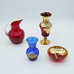 Group of Venetian Style Art Glasses Including a Raised Enameled Glass Vase