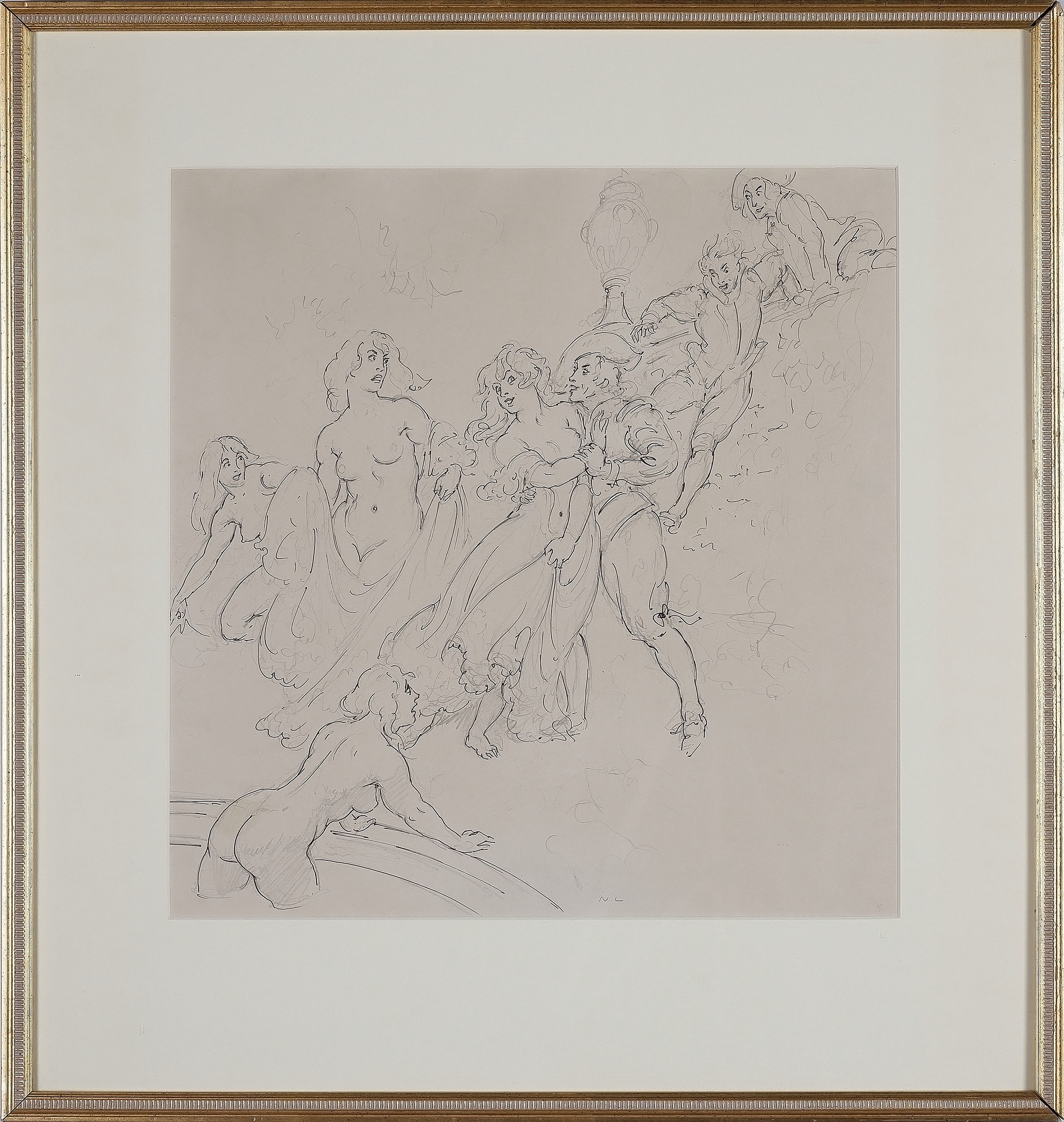 'Norman Lindsay (1879-1969) The Intruders Pen and Pencil on Paper Circa 1932'