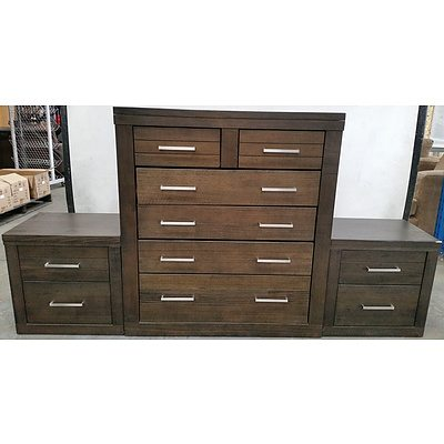 Six Drawer Tallboy and Two Bedside Tables
