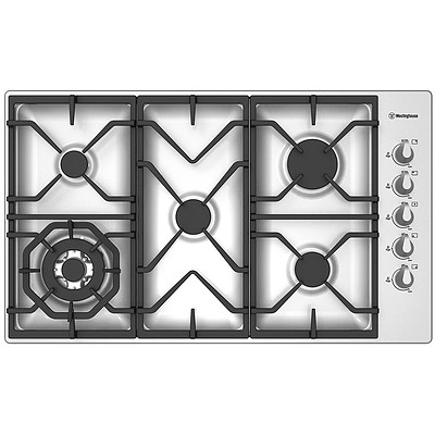 Westinghouse WHG955SA 90cm Series 6 5 Burner Stainless Steel Cooktop - RRP $1,179 - Brand New