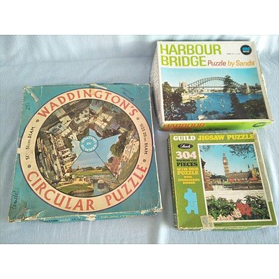Vintage Waddington's Circular jigsaw puzzle and two other old fashioned jigsaws