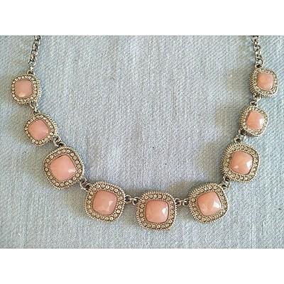 Rose Quartz and Diamante Necklace