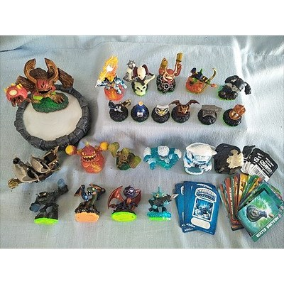 22 Skylander figures with portal of power, trading cards, sticker sheets and web codes