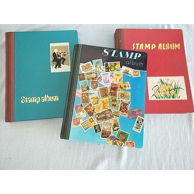 3 x stamp albums with assorted international and Australian stamps
