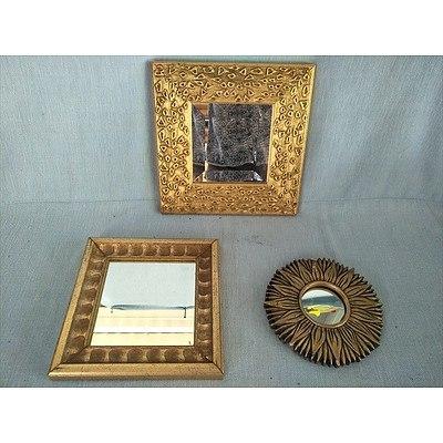 3 x mirrors in golden frames