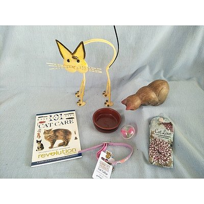 For the cat lover - assorted cat themed ornaments and cat accessories