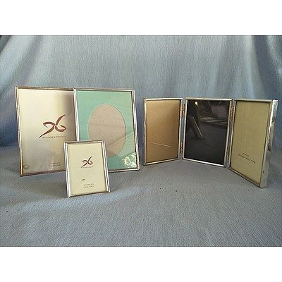 Assorted silver metal & silver plated photo frames