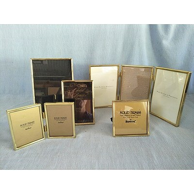 Assorted brass & gold metal photo frames