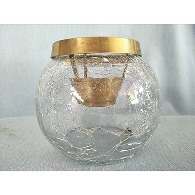 Crackle glass candle holder with brass fittings