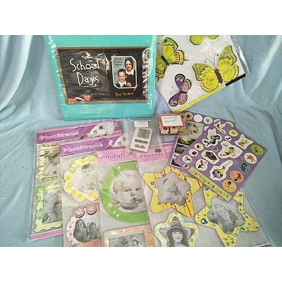 Scrapbooking accessories: School Days album, photo frames, stickers and stamps