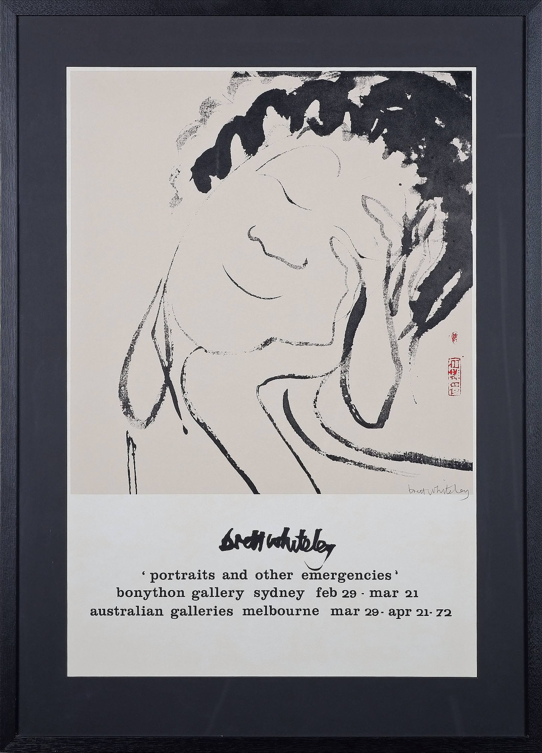 'Brett Whiteley (1939-1992) Portraits and Other Emergencies Exhibition Poster, Hand Signed Offset Print'