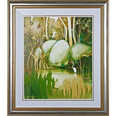 Ken Taber (1942-) Waterhole Acrylic on Board