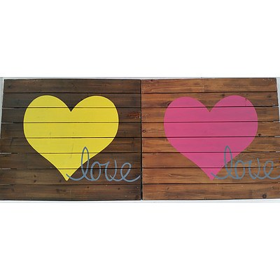 Hardwood Love Wall Decorations - Lot of Two