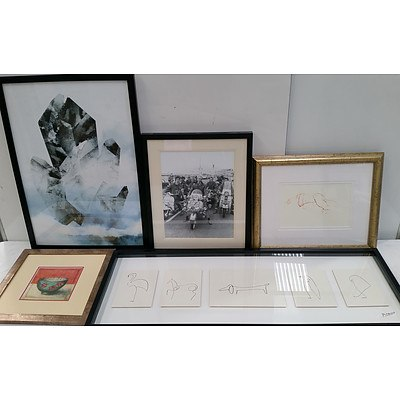 Framed Photograph and Prints - Lot of Five