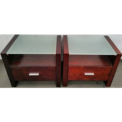Glass Top Bedside Tables - Lot of Two