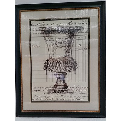 Framed Print of Champagne Bucket Sketch