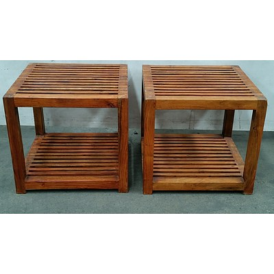 Stained Pine Occasional Tables - Lot of Two